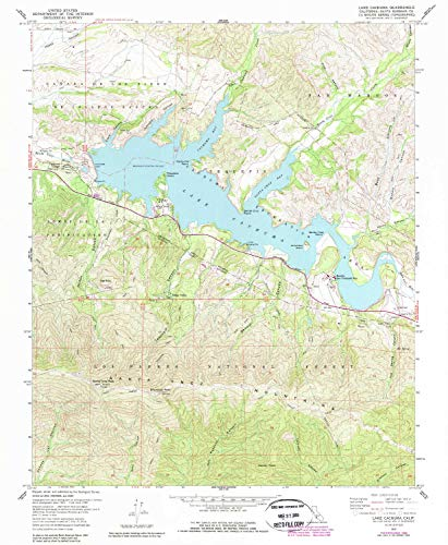 YellowMaps Lake Cachuma CA topo map, 1:24000 Scale, 7.5 X 7.5 Minute, Historical, 1959, Updated 1989, 26.8 x 22 in - Tyvek