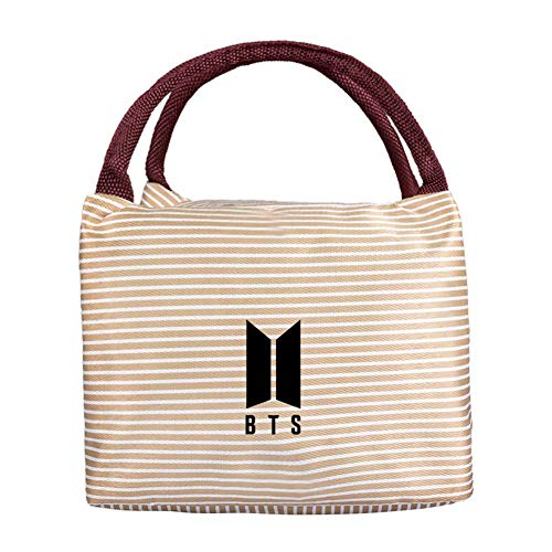 Youyouchard KPOP BTS BLACKPINK TWICE EXO Luch Bag Insulated Cold Canvas Stripe Picnic Carry Case Thermal Portable Lunch Bag Student Food Storage Bag(bts)