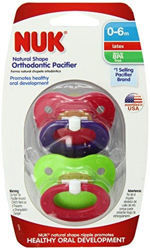 NUK classique Latex BPA Sucette gratuit, Taille 1 (les couleurs peuvent varier), 2 Count