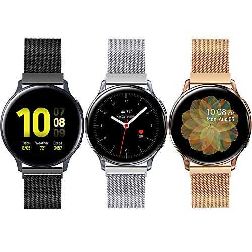 3 Pack Compatible with Samsung Galaxy Watch 3 41mm/Active 2 40mm 44mm/ Galaxy Watch 42mm Bands,Adjustable Stainless Steel Mesh Loop Replacement Wristband Sport Strap