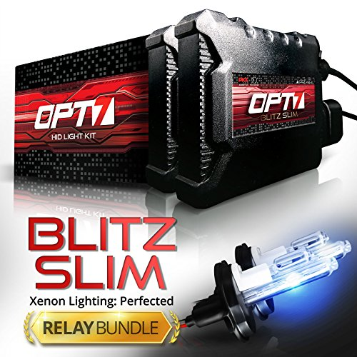 Yr Warranty (OPT7 Blitz Slim Hi-Powered HID Kit - H11 H8 H9 High Beam - Relay Bundle - All Bulb Sizes and Colors Yr Warranty [5000K Pure White Xenon Light])