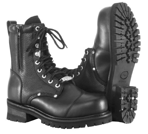 River Road Mens Double-Zipper Field Motorcycle Boots Black 9.5