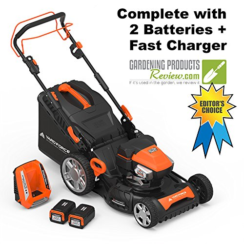 Yard Force Lithium-Ion 22'' Self-Propelled 3-in-1 Mower with Torque-Sense Control - 2 Batteries & Fast Charger included by YARD FORCE