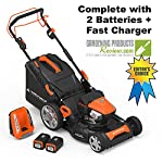 "Yard Force YOLMX225300 120V 2.5Ah x 2 Lithium-Ion 22"" SP 3-in-1 Mower Torque-Sense, One Size, Black/Orange 9 POWERFUL, RELIABLE PERFORMANCE + 5-YEAR WARRANTY: The 120vRX brushless motor has the torque of a gas engine to cut through all grass types and conditions with up to 100 minutes of runtime on a single charge with two batteries installed. Dual battery ports operate either battery when two are installed. When one is completely discharged, the sensor powers the other battery to keep you going. The mower operates with only one battery installed if you need to charge the other battery while cutting. TORQUE-SENSE TECHNOLOGY: Sensors built in to the motor receive feedback while you are cutting and sense when more power is needed for thick, dense or wet grass to increase the blade speed for a premium cut. This gives you power when you need it and saves energy when you don't to extend the runtime even longer. SELF-PROPELLED / SPEED ADJUSTABLE DRIVE: Step up to self-propelled power drive with a simple control lever on the handle to reduce effort and achieve a perfect cut every time! Adjust the speed with the touch of a lever at your fingertips. Self-propelled drive is essential for yards with hills and slopes of all degrees to maintain a consistent cut and is safer by providing more control during operation."
