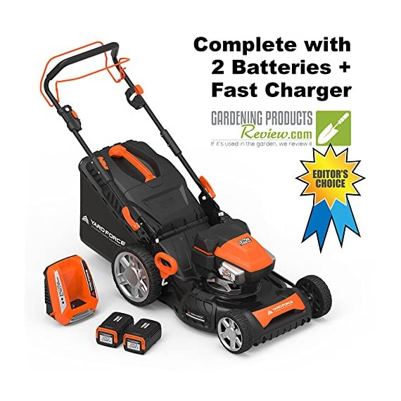 "Yard Force YOLMX225300 120V 2.5Ah x 2 Lithium-Ion 22"" SP 3-in-1 Mower Torque-Sense, One Size, Black/Orange 1 POWERFUL, RELIABLE PERFORMANCE + 5-YEAR WARRANTY: The 120vRX brushless motor has the torque of a gas engine to cut through all grass types and conditions with up to 100 minutes of runtime on a single charge with two batteries installed. Dual battery ports operate either battery when two are installed. When one is completely discharged, the sensor powers the other battery to keep you going. The mower operates with only one battery installed if you need to charge the other battery while cutting. TORQUE-SENSE TECHNOLOGY: Sensors built in to the motor receive feedback while you are cutting and sense when more power is needed for thick, dense or wet grass to increase the blade speed for a premium cut. This gives you power when you need it and saves energy when you don't to extend the runtime even longer. SELF-PROPELLED / SPEED ADJUSTABLE DRIVE: Step up to self-propelled power drive with a simple control lever on the handle to reduce effort and achieve a perfect cut every time! Adjust the speed with the touch of a lever at your fingertips. Self-propelled drive is essential for yards with hills and slopes of all degrees to maintain a consistent cut and is safer by providing more control during operation."