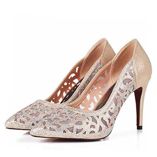 W&LM Hembra Tacones altos piel genuina Piel de carnero Zapatos huecos Ultra Tacones altos Propina Piedras de Strass Respirable Zapatos golden