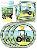 Farm Tractor Time Birthday Party Supplies Set Plates Napkins Cups Kit for 16 offers