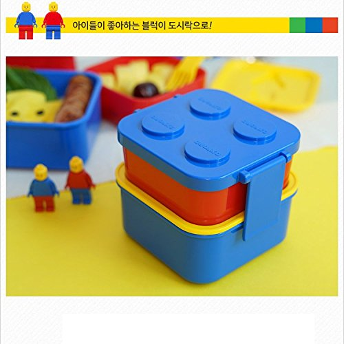 2 Layer Stackable Lunch Box and 1 Fork Set, Bento Box Container Salad Box Oxford Block Brick Design For Children Kids Family Picnic Travel (BlueLid 2Layer+Fork)