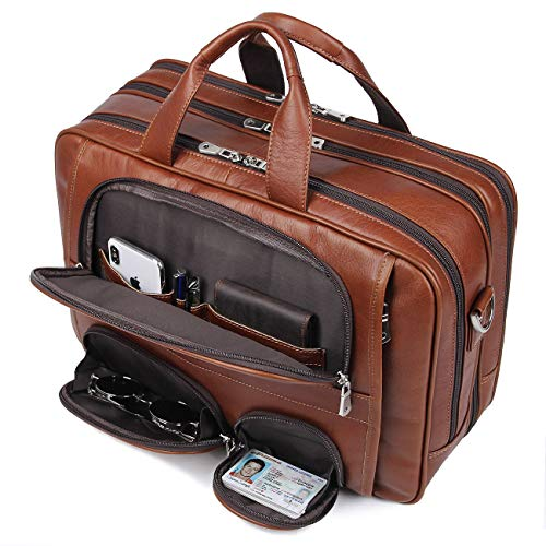 Augus Business Travel Briefcase Genuine Leather Duffel Bags for Men Laptop Bag fits 15.6 inches Laptop (Light Brown) ()