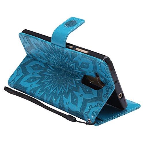 Trumpshop Smartphone Carcasa Funda Protección para Huawei Mate 9 [Verde] 3D Mandala PU Cuero Caja Protector Billetera Choque Absorción Azul