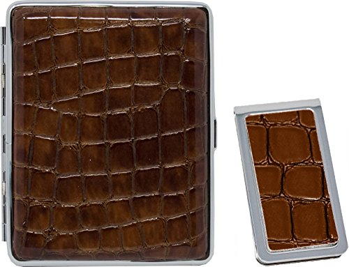 Crocodile Print Brown Leather Money Clip + Matching (100s) Nickle-Plated Metal Cigarette Herbal Cigarette Cigar Tobacco Carrying Stash Storage Case ()