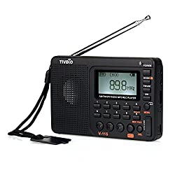 Tivdio V-115 Portable Shortwave Transistor Radio Amfm Stereo With Mp3 Player Recorder Support T-flash Card & Sleep Timer (Black)