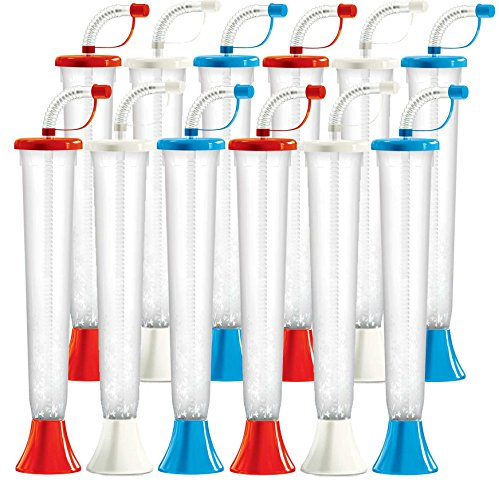 Red White and Blue Yard Cups Party 12-Pack - for Margaritas, Cold Drinks, Frozen Drinks - 14 oz. (400 ml) - set of 12 Yard Cups in Red, White, and Blue - BPA Free and Crack Resistant -