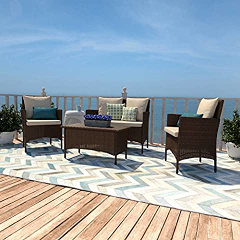 Aruba 4-Piece Wicker Patio Outdoor Furniture Living Room Set (Brown) - Heritage Pools Round Pool Cover
