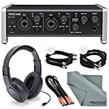 "Tascam US-2x2 2-Channel USB Audio Interface Deluxe Bundle W/ Dual MIDI Cable + 2 X ¼"" Cable + 2 X XLR Cable + Samson Stereo Headphones+ Fibertique Cleaning Cloth"