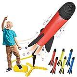 Lanzador de cohetes de juguete para niños – Dispara hasta 100 pies – 8 cohetes de espuma coloridos y soporte lanzador resistente con almohadilla de lanzamiento de pie, divertido juguete para niños – Juguetes de regalo para niños y niñas de 3 años de edad