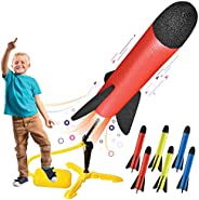 Toy Rocket Launcher for kids – Shoots Up to 100 Feet – 8 Colorful Foam Rockets and Sturdy Launcher Stand With