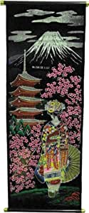 Retro Velvet Wall Scroll with Japanese Lady Design