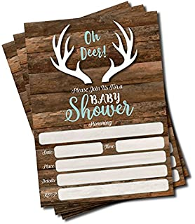 Oh Deer Invitations And Envelopes (Large Size 5x7)   Baby Shower (25 Count