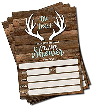 Amazon 25 oh deer invitations and envelopes large size 5x7 25 oh deer invitations and envelopes large size 5x7 baby shower invitations hunting filmwisefo