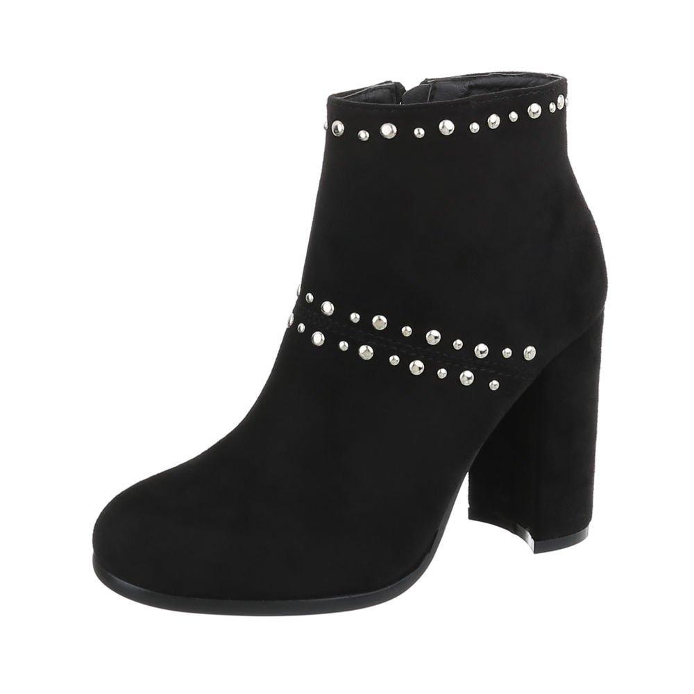 5bd1f116288b Ital-Design High Heel Stiefeletten Damenschuhe High Heel Stiefeletten Pump  High Heels Reißverschluss Stiefeletten 40 EU Schwarz M275P - leutz-8plus.de