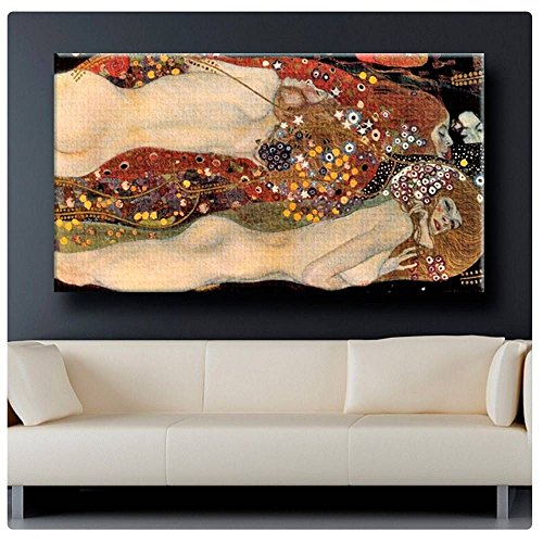 (Alonline Art - Water Serpents Snakes Gustav Klimt Poster Prints Rolled (Print on Fine Art Photo Paper) 62