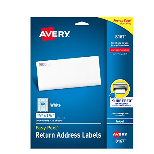 Avery Mailing Label (Avery Mailing Address Labels, Inkjet Printers, 2,000 Labels, 1/2 x 1-3/4, Permanent Adhesive, Easy Peel (8167))