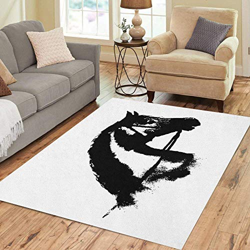 - Semtomn Area Rug 2' X 3' Black Ink Horse Head Silhouette Equestrian Sport Bridle Home Decor Collection Floor Rugs Carpet for Living Room Bedroom Dining Room