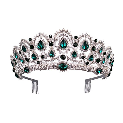 Gorgeous Silver Queen Crystal Crown Headband Rhinestone Wedding Princess Tiara Bridal Party Birthday Pageant Headpieces (Green)