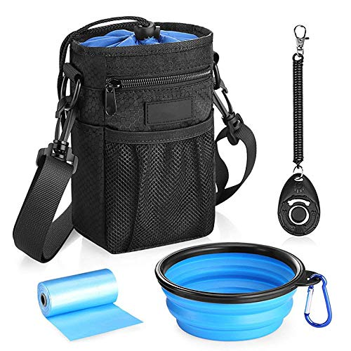 Dog Treat Training Pouch, Storage for Treats, Balls, Toys and Training Accessories, Poop Bags Dispenser, Collapsible Dog Bowl, Training Clicker Puppy Treat Bag with Adjustable Waist Shoulder Strap