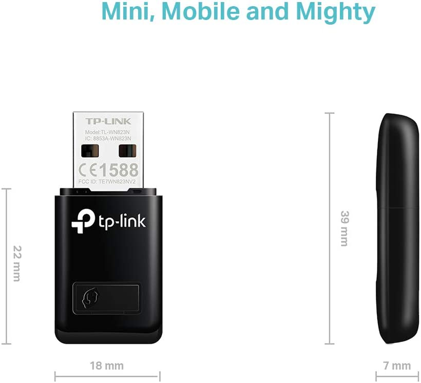 TP-Link TL-WN823N N300 Mini USB Wireless WiFi network Adapter for pc, Ideal for Raspberry Pi
