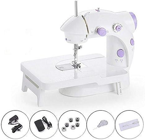 Yuaer Mini máquina de coser portátil con pedal y mesa extendida ...