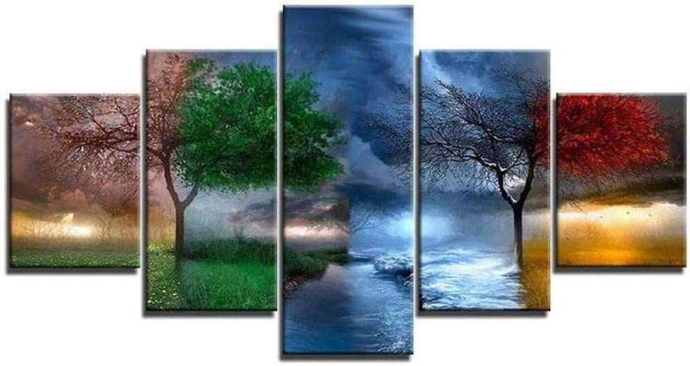 QMCVCDD Prints On Canvas 5 Piece Wall Art Print Canvas Painting for Home Decor 4 Seasons Tree 5 Panel Canvas Pictures Stretched Artwork Mural -Framed