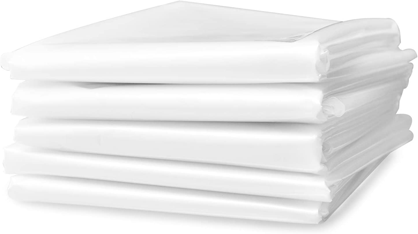 Lainrrew 5 Sheets Plastic Drop Cloths, Disposable Painting Tarp Anti-dust Furniture Sheet Covers Floor Protection for Painting (4 x 3m/ 13 x 9.8 Feet)