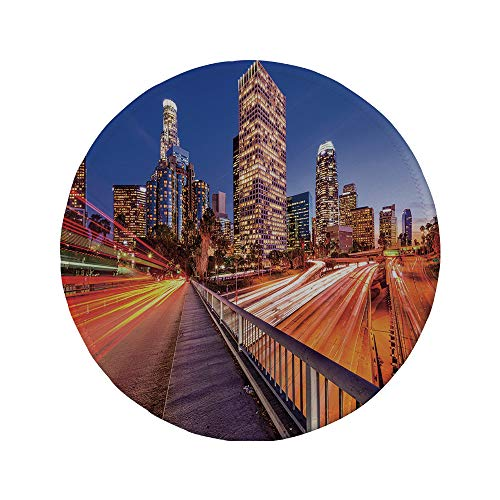 Non-Slip Rubber Round Mouse Pad,Night,USA Downtown City Skyline Over The Highway Los Angeles California Travel Destination,Multicolor,7.87
