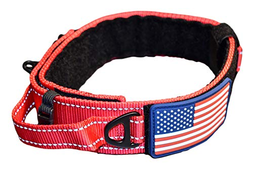 "DOG COLLAR WITH CONTROL HANDLE QUICK RELEASE METAL BUCKLE HEAVY DUTY MILITARY STYLE 2"" WIDTH NYLON WITH USA FLAG GREAT FOR HANDLING AND TRAINING LARGE CANINE MALE OR FEMALE K9 (200C-REDTAC)"