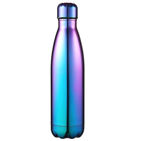 Anjoo 500 ML Aislado Botella de Agua, Deportes al Aire Libre Botella Agua Acero Inoxidable con Doble Pared Aislada al Vacío Botella, Aluminio Botella ...