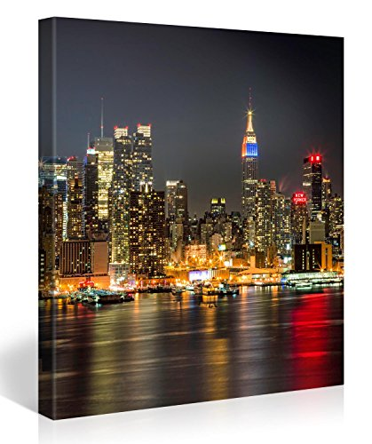 Large Canvas Print Wall Art – MANHATTAN NIGHT LIGHTS – 30x30 Inch New York Cityscape Canvas Picture Stretched On A Wooden Frame – Giclee Canvas Printing – Hanging Wall Deco Picture / e4347