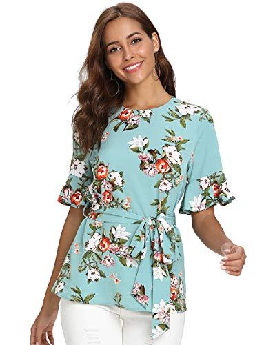 Romwe Women's Short Sleeve Floral Print Belted Peplum Ruffle Hem Blouse Shirts Top Green ()