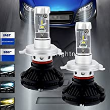 Turbo SII H4 9003 HB2 Led Headlight Bulbs 50W 6000LM LED Conversion Kit Halogen and Xenon HID Headlight driving fog lights Replacement Free DIY with 3 Kinds Colorful Film