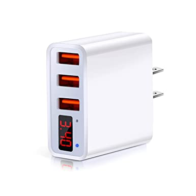 Wall Charger, USB Charger Plug, Besgoods 3-Port 3.4A USB Wall Charger Block Travel Power Adapter with LED Display Compatible iPhone Xs/XS ...