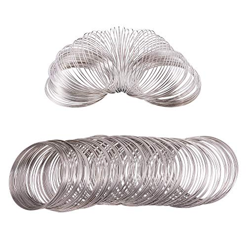 BENECREAT About 300 Loop 20 Gauge Jewelry Wire Silvertone Memory Beading Wire for Wire Wrap DIY Jewelry Making - Inner Dia 55m, Thick 0.8mm - Large Loop 20 Gauge