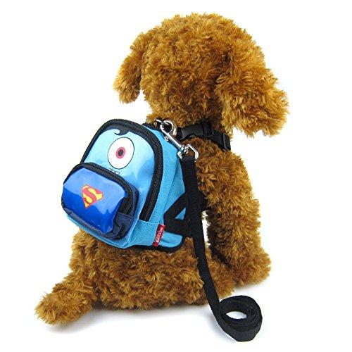 Alfie Pet - Oliga Backpack Harness with Leash Set - Pattern: Superman, Size: Medium