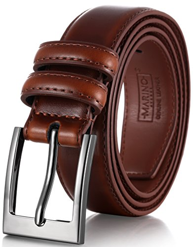 Marino's Men Genuine Leather Dress Belt with Single Prong Buckle - Burnt Umber - 32 -