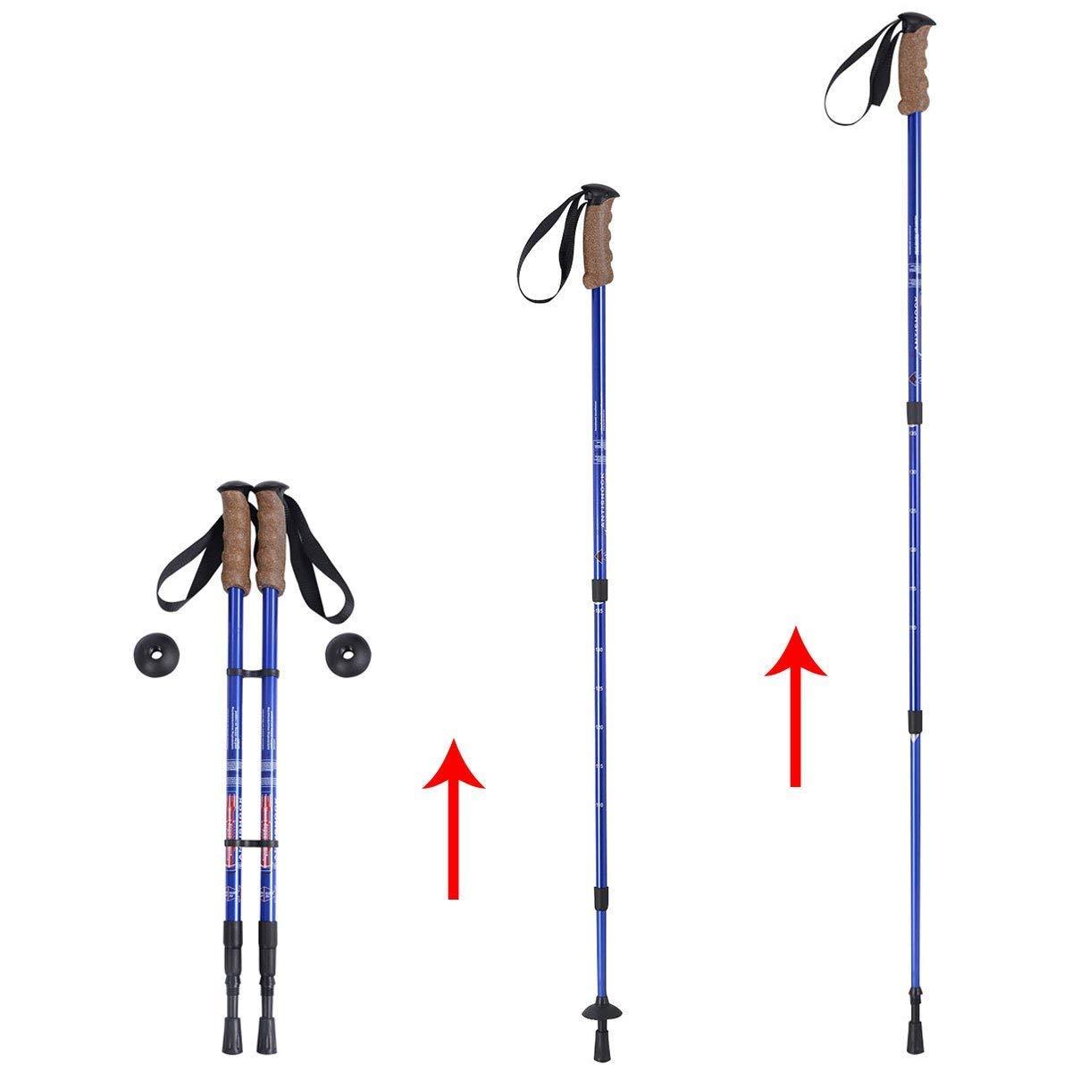 L/änge 65-135 cm GOPLUS Wanderst/öcke Trekkingst/öcke Walking St/öcke mit D/ämpfungssystem und nat/ürlichen Korkgriffen f/ür Damen und Herren leicht und verstellbar