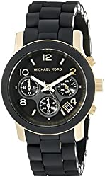 Michael Kors Watches Black PU Runway Watch
