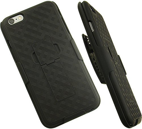 """NAKEDCELLPHONE'S BLACK WEAVE KICKSTAND HARD CASE + BELT CLIP HOLSTER STAND FOR APPLE iPHONE 6 PLUS PHONE 5.5"""" from Nakedcellphone"""