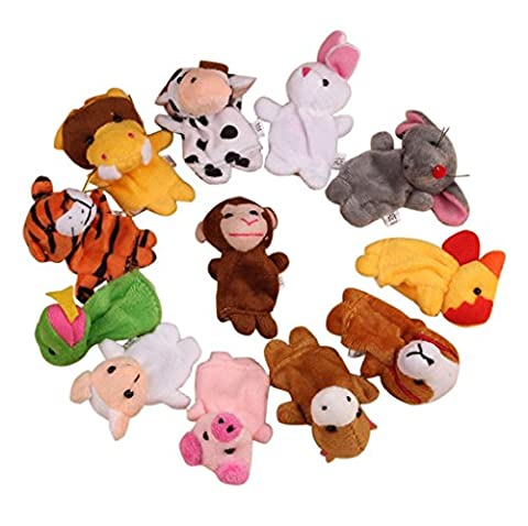 Finger Puppet Toys,VIASA Cute Chinese Zodiac Soft Animal Puppet Finger Toys PLush Toys 12Pcs - Horse Puppet Kit