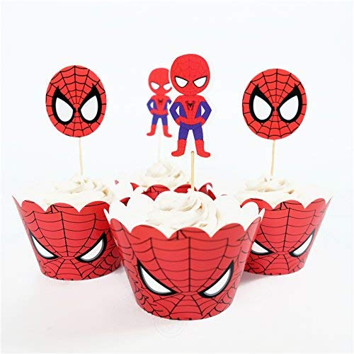 Spiderman Cupcake Liners (24pcs Spiderman Cupcake toppers and wrappers For Kids Birthday Party Decoration, Set includes 12 toppers, 12 wrappers and Wooden)
