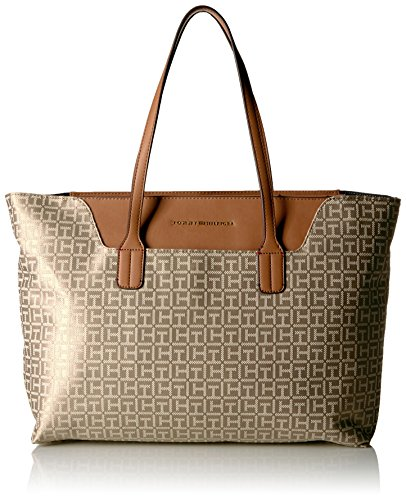 Tommy Hilfiger Tote Bag for Women Adamaria Jacquard, Khaki Tonal by Tommy Hilfiger